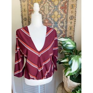 Express Deep V Striped Blouse